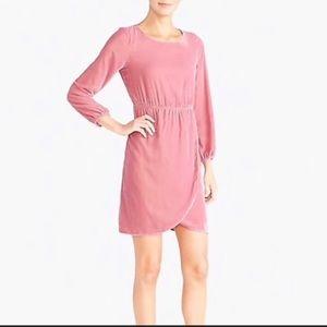 J Crew Velvet Long-sleeve Pink Dress